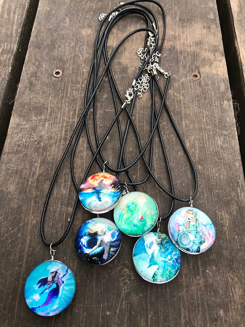Enchanted double sided glass mermaid necklace