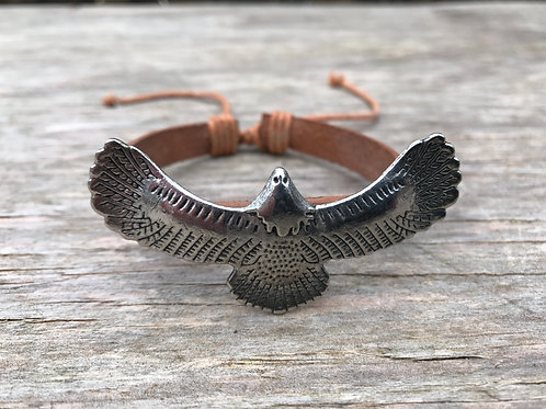 Eagle with soaring wings leather bracelet