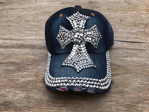 Rhinestone cross cap
