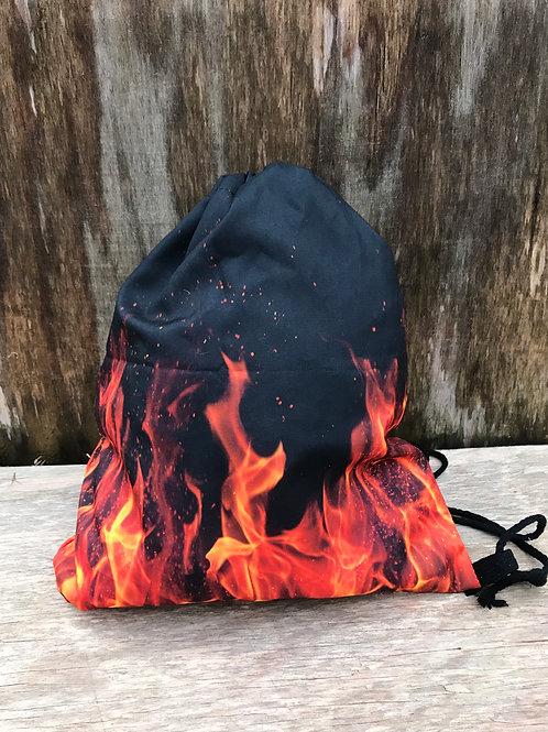 Flame drawstring bag