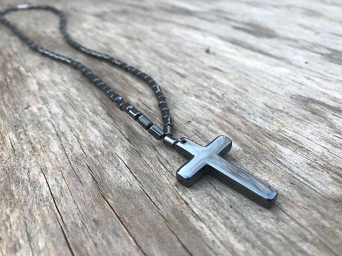 Hematite cross necklace with full hematite strand