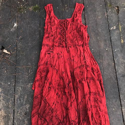 Floral Rustic cranberry Renaissance Dress