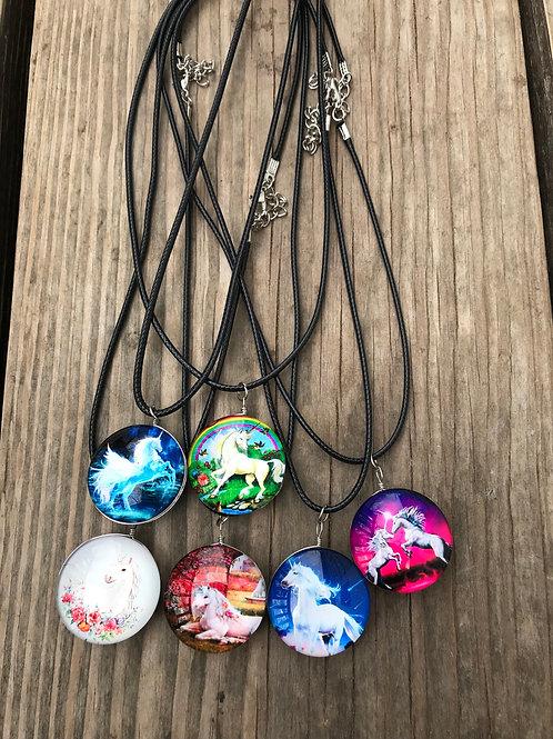 Enchanted 2 sided glass unicorn pendant