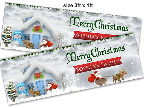 2 Personalised cute Snow Scene Christmas Banners: size 3ft x 1ft