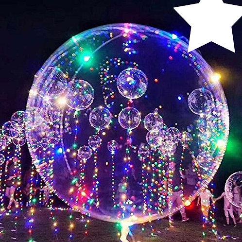 "LED  Multi-Colour Light Up Transparent Balloon - 18"""