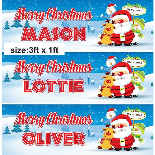 2 x Personalised Santa & Friends Merry Christmas Banner : size 3ft x 1ft
