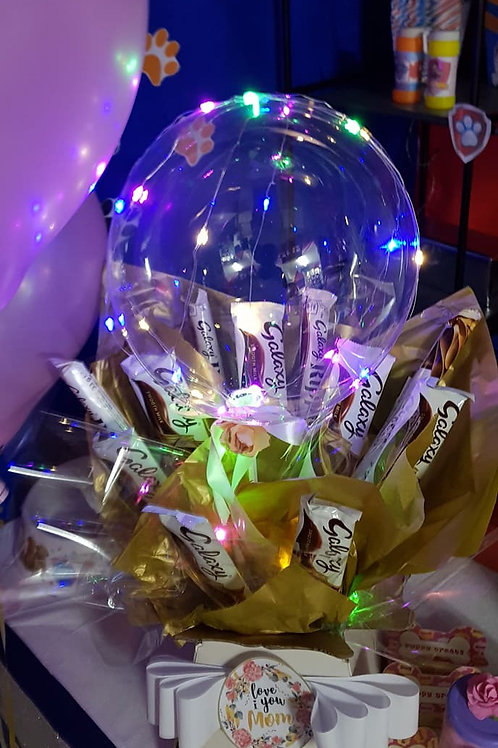 LED clear balloon chocolate bouquets.