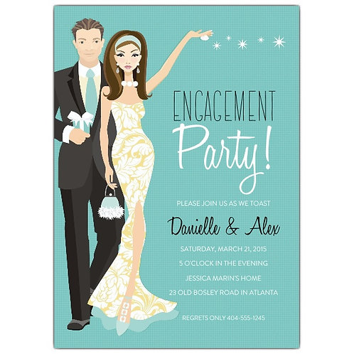 Party in Style Engagement invite + free envelopes