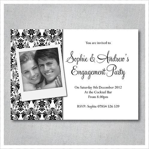 Elegant Black & White Damask Engagement invites.