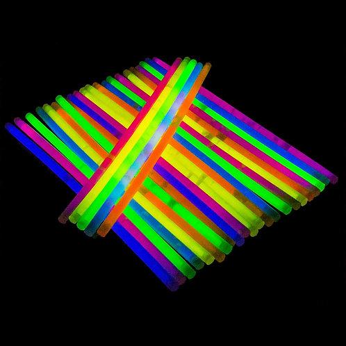 pack 10 multi coloured glow sticks