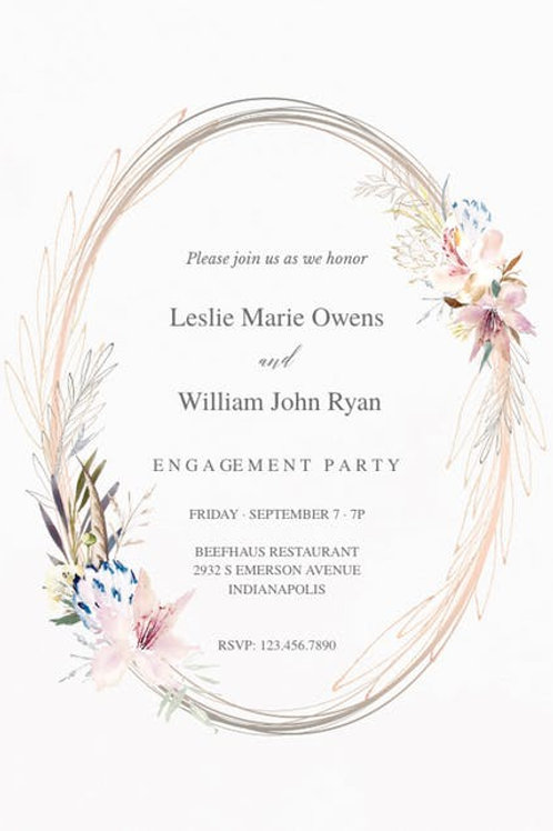 Delicate Soft Floral Engagement Invite