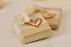 gold heart mini choc favors