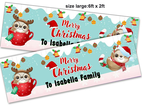 2 Personalised Ultra Cute Merry Christmas Banner - size 6ft x 2ft