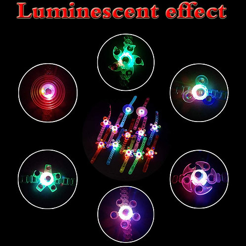 12 Pack LED Light Up Glow in The Dark Hand Spin Wrist Toy