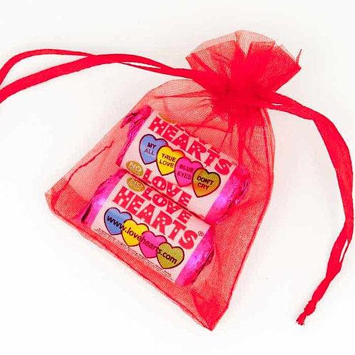Prefilled Organza Bag 7 x 9 cm + 3 mini love heart rolls