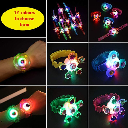 LED Light Up Glow in The Dark Hand Spin Wrist Toy – 12 colour choice