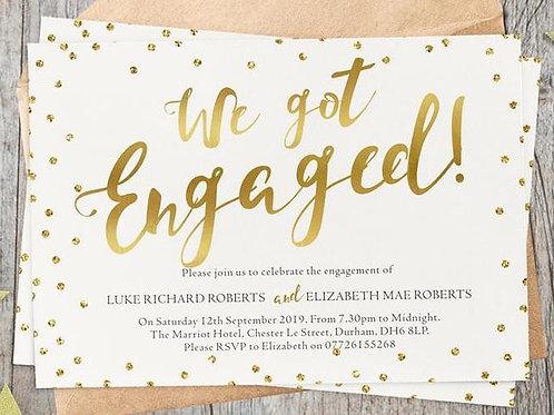 Gold 'We got Engaged' Invites + free envelopes