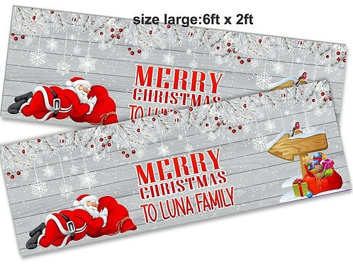 2 x Personalised Sleeping Santa Christmas Banner : size 6ft x 2ft