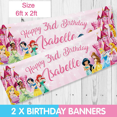 2xPersonalised Disney Princess Birthday Party Banner - size 6ftx2ft