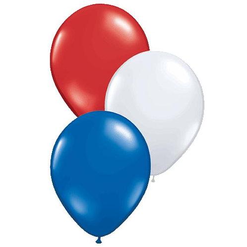 """Plain 12"""" latex balloons - 8pk  - red, white, blue"""