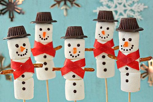 box 6 marshmallow snowmen kebab