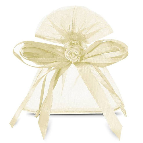 Organza bags 8 x 10 cm – ivory bow