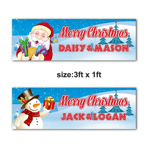 2 Personalised Santa OR Snowman Christmas Banner : size 3ft x 1ft