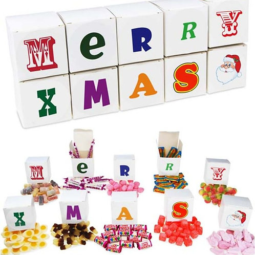 Merry Xmas sweet boxes  - set of 10 + includes sweets.