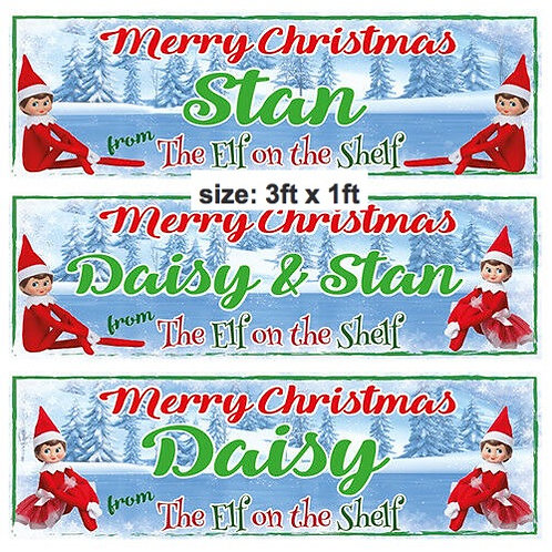 2 PERSONALISED  Merry Christmas Elf Banners - size 3ft x 1ft