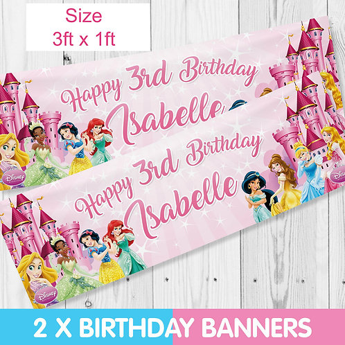 Personalised Disney Princess Birthday Party Banner - Banners x 2  -size 3ft x1ft