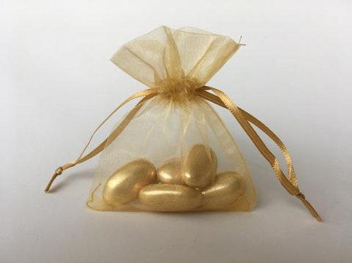 Prefilled Organza Bag 7 x 9 cm + 5 GOLD whole sugared almonds