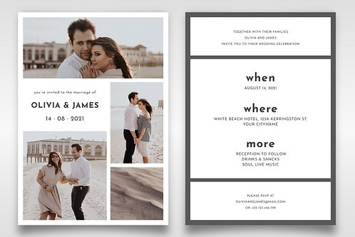 4 Photo Design Engagement invite + envelopes