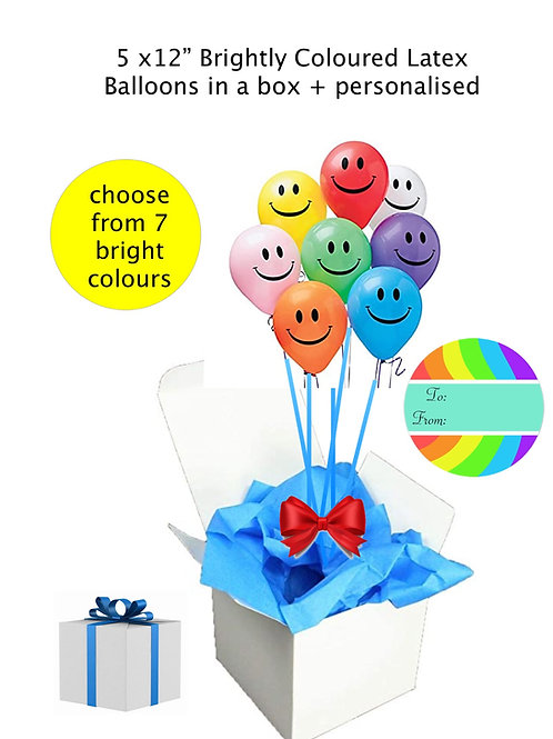 "5 Smiley Face 12""/28cm latex Brightly coloured Balloons in a box"