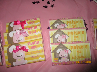 cute pink puppy choc theme