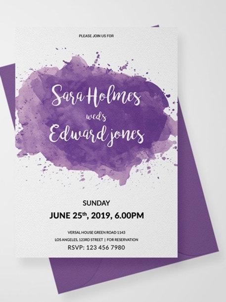 Watercolour Splash Invites + free matching envelopes