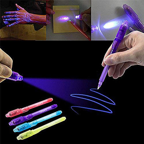 secret pen with UV light, invisible writing - 7 PIECE SET