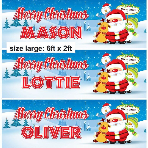 2 x Personalised Santa & Friends Merry Christmas Banner : size 6ft x 2ft