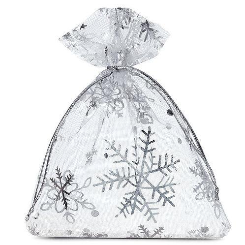 Silver Snow Flake Organza bags 8 x 10 cm