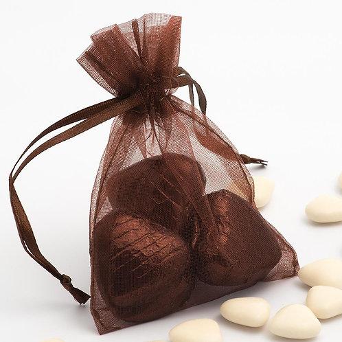 Organza bags 7 x 9 cm – brown