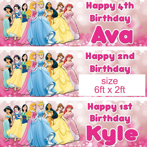 2 personalised birthday banners Disney princess children's party - large