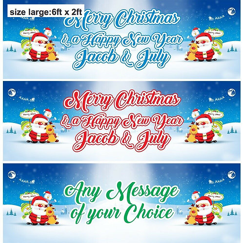 2 Personalised 'any message' Santa Christmas banner: size 6ft x 2ft