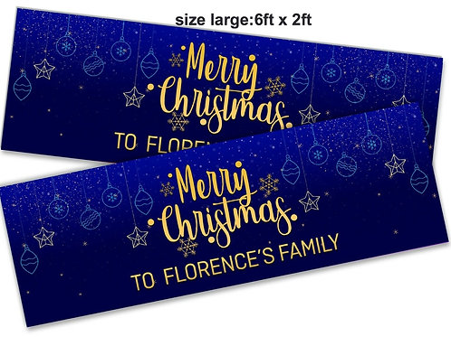 2 x Personalised Gold & Blue Merry Christmas Banner : size 6ft x 2ft