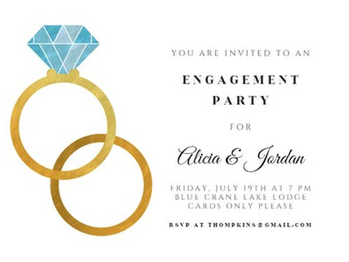 Engagement invite Double Ring Design + free envelopes
