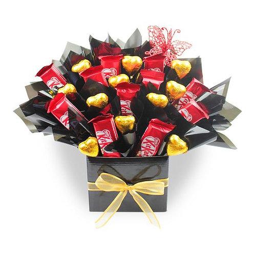Kit Kat & gold foil heart chocolate bouquet