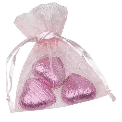 Prefilled Organza Bag 7 x 9 cm + 3 Swiss milk Chocolate hearts