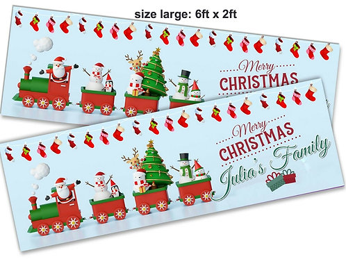 2 x Personalised Santa Train Christmas Banner : size 6ft x 2ft
