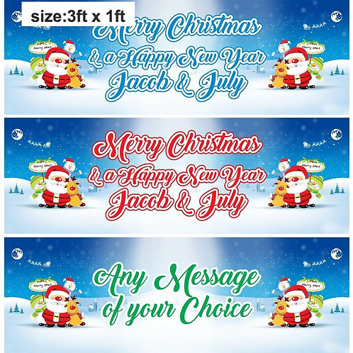 2 Personalised 'any message' Santa Christmas banner: size 3ft x 1ft