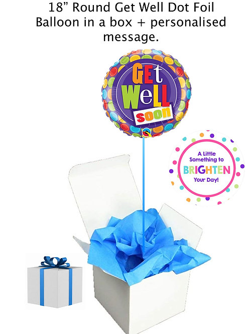 """'Get Well' 18""""Foil Brightly Dotted Balloon in a box + personalise"""
