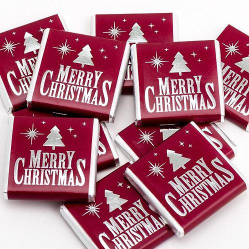 Burgundy & Silver Merry Christmas Chocolate Neapolitans
