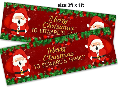 2 Personalised Father Christmas Festive Banner : size 3ft x1ft